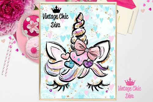 Unicorn Face Bow89 Pastel Hearts Background-
