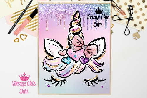 Unicorn Face Bow89 Rainbow Glitter Background-