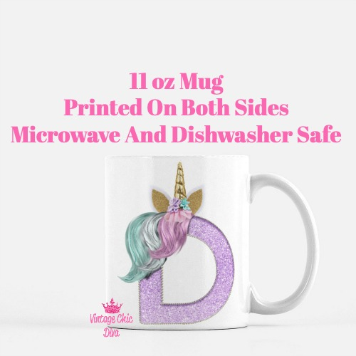 Unicorn Letter D Coffee Mug-