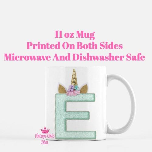 Unicorn Letter E Coffee Mug-
