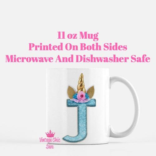 Unicorn Letter J Coffee Mug-