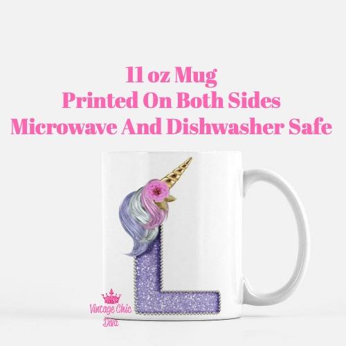Unicorn Letter L Coffee Mug-