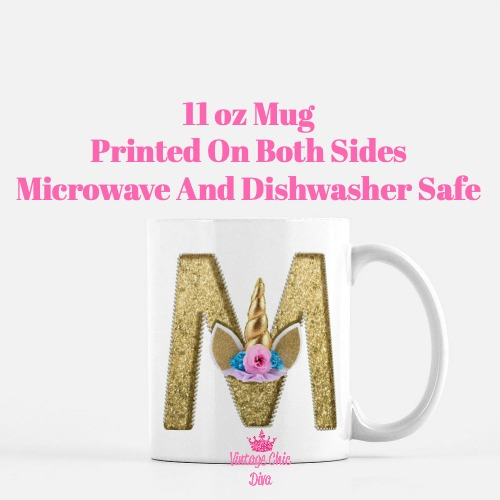 Unicorn Letter M Coffee Mug-