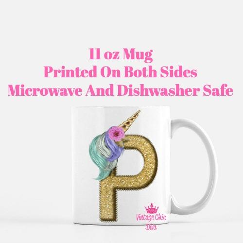 Unicorn Letter P Coffee Mug-