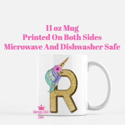 Unicorn Letter R Coffee Mug-