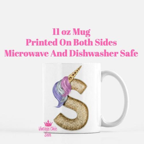 Unicorn Letter S Coffee Mug-