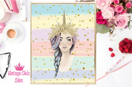 Unicorn Queen Gold Unicorn Horn Pastel Gold Dots Background-