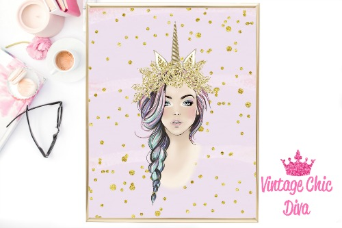 Unicorn Queen Gold Unicorn Horn Purple Gold Dots Background-