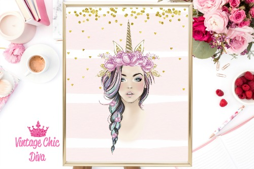 Unicorn Queen Pink Floral Gold Unicorn Horn Pink Gold Dots Background-