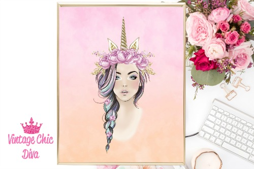 Unicorn Queen Pink Floral Gold Unicorn Horn Pink Ombre Background-